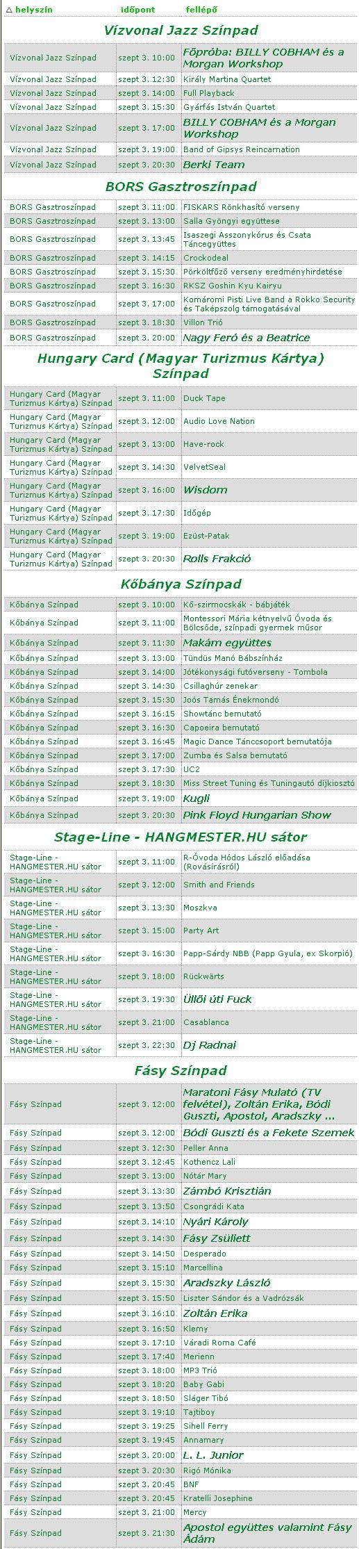 SzeptEmber Feszt 2011 Népliget programok 09. 03.