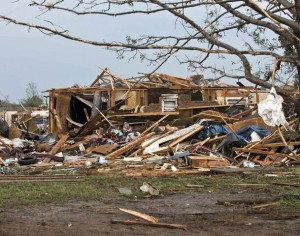A destroyed house remains after a huge tornado struck Moore, Oklahoma