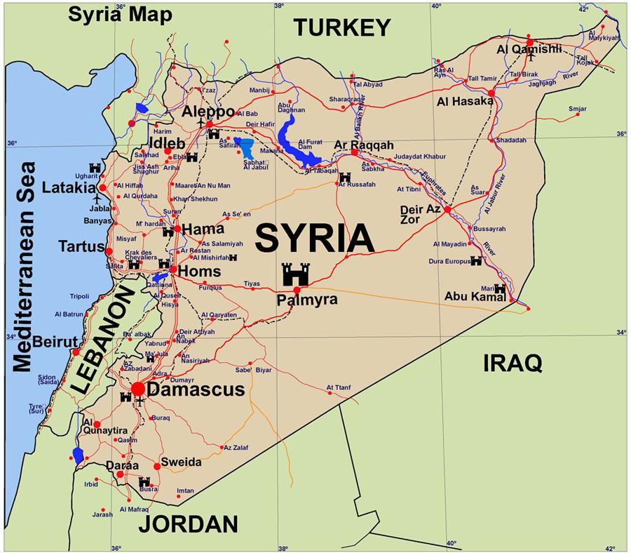 szíria térkép Szíria   Izraeli miniszter óvatosan támogatta a vegyi fegyverek  szíria térkép