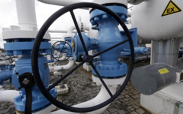 General view of pipes from Latvijas Gaze's underground gas storage facility in Incukalns