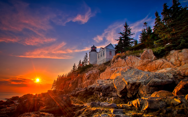 Sunset at Bass Harbor Lighthouse Acadia National Park Maine