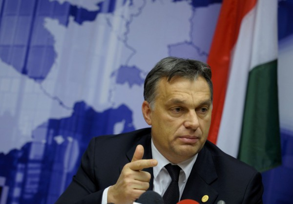 Hungary's Prime Minister Orban addresses a news conference at the end of an European Union leaders summit in Brussels