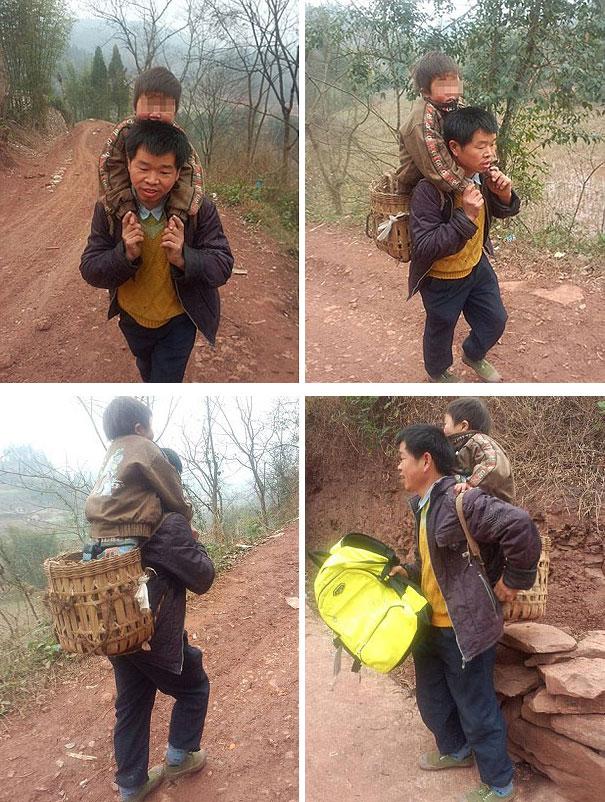 A kínai apuka, aki minden nap 18 mérföldet gyalogol gyerekével az iskolába.