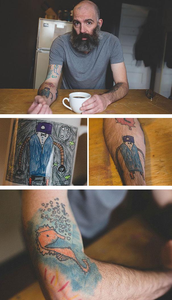 Az apuka, aki magára tetováltatta fia rajzait