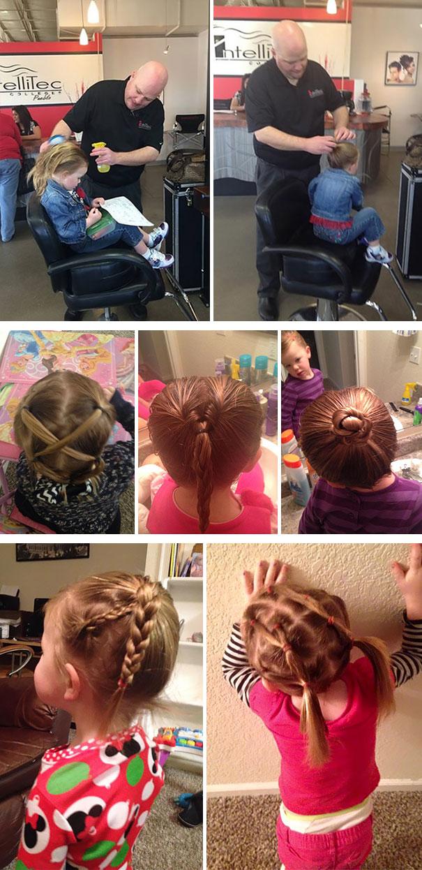Az egyedülálló apuka, aki órákat is vett, hogy képes legyen megcsinálni kislánya haját.