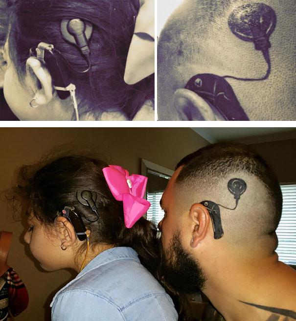Az apuka, aki magára tetováltatta lánya hallókészülékét, hogy az ne érezze rosszul magát miatta