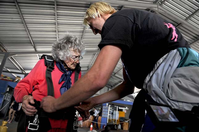 CAPE TOWN, SOUTH AFRICA  MARCH 15 (SOUTH AFRICA OUT): Georgina Harwood skydives on March 15, 2015 in Cape Town, South Africa. Harwood celebrated her 100th birthday last Wednesday. This was the third time that the gran was skydiving, she did her first jump when she was 92. (Photo by Esa Alexander/Sunday Times/Gallo Images/Getty Images)