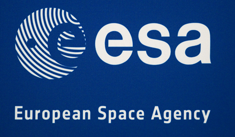 epa03054490 A picture of the European Space Agency (ESA) logo seen during a news conference presenting the agency's 2012 projects, in Paris, France 09 January 2012. Some of the expected key events for the 2012 include the launch of ATV-3 by Ariane 5, docking of ATV-3 with the ISS, end of in-orbit testing of the two first Galileo satellites, and presentation of first map of changes in sea-ice thickness by CryoSat.  EPA/IAN LANGSDON