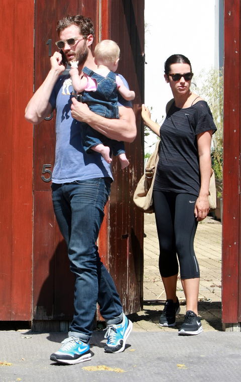 EXCLUSIVE 'Fifty Shades of Grey' star Jamie Dornan out and about with wife Amelia Warner and baby daughter Featuring: Jamie Dornan,Amelia Warner Where: London, United Kingdom When: 29 Jul 2014 Credit: WENN.com