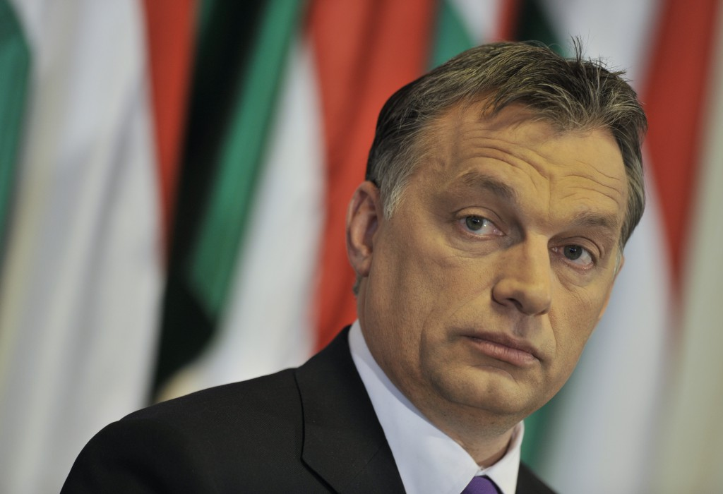 FILE - In this file photo dated on April 12, 2010. Viktor Orban, former prime minister and candidate of Fidesz, Hungary's main center-right party, attends an international press conference welcoming the result of his party in the first round of the parliamentary elections in Budapest, Hungary. Polls expect a landslide victory of Fidesz and Orban on April 25, at the final round of the parliamentary elections. (AP Photo/Bela Szandelszky, File)