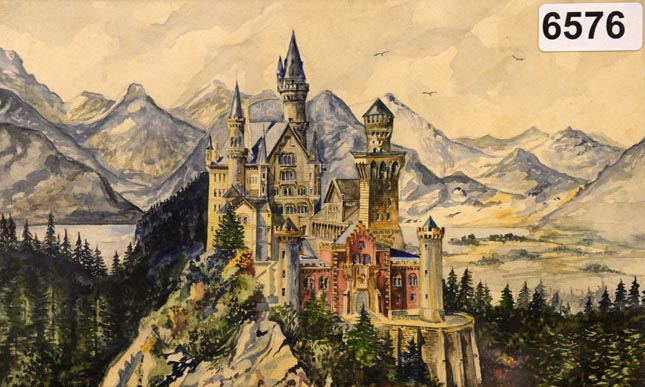 A reproduction shows a painting of Neuschwanstein Castle, a watercolor signed A Hitler on June 11, 2015 in the Weidler auction house in Nuremberg, southern Germany. Watercolour paintings and drawings by Adolf Hitler from about 100 years ago are set to go up for auction in Nuremberg between June 18 and 20, 2015. AFP PHOTO / CHRISTOF STACHE  NO ARCHIVES//RESTRICTED TO EDITORIAL USE - MANDATORY MENTION OF THE ARTIST UPON PUBLICATION, TO ILLUSTRATE THE EVENT AS SPECIFIED IN THE CAPTIONCHRISTOF STACHE/AFP/Getty Images
