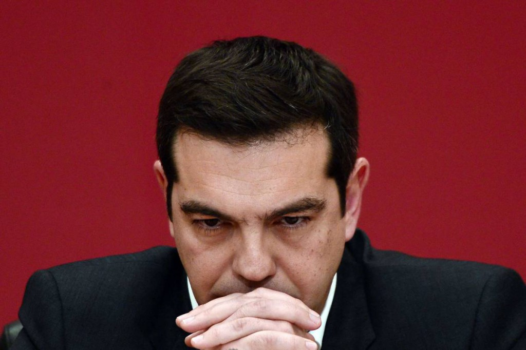 TOPSHOTS The leader of the leftist Syriza party, Alexis Tsipras, listens to a question during a televised press conference on January 23, 2015 at the Zappion Hall in Athens. Greeks vote on January 25 in a general election for the second time in three years, with radical leftists Syriza leading the polls with a promise to renegotiate the international bailout that has imposed five years of austerity on the country.   AFP PHOTO/LOUISA GOULIAMAKILOUISA GOULIAMAKI/AFP/Getty Images