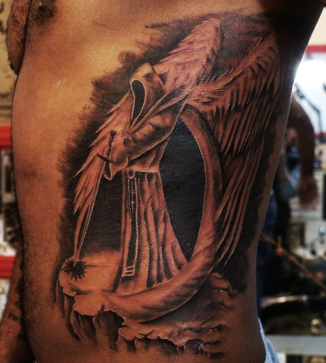 Scary-Design-Tattoo-of-Dark-Angel-on-Rib