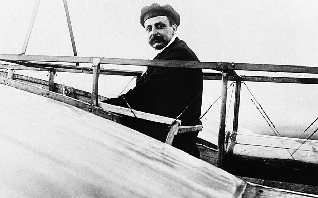"Louis Bleriot...FILE --  Undated  and unlocated photo of French pilot and engineer Louis Bleriot at the controls of the plane which made the first flight across the English Channel, on July 25, 1909. Louis Bleriot was declared crazy by his own mother. ""He wants to fly over the English Channel in a kite,"" she complained to friends a century ago. Bleriot defied her and helped usher in commercial plane travel with an epic flight from Calais to Dover in 1909, aboard a winged contraption with bicycle wheels and wooden propeller.  (AP Photo/file)"