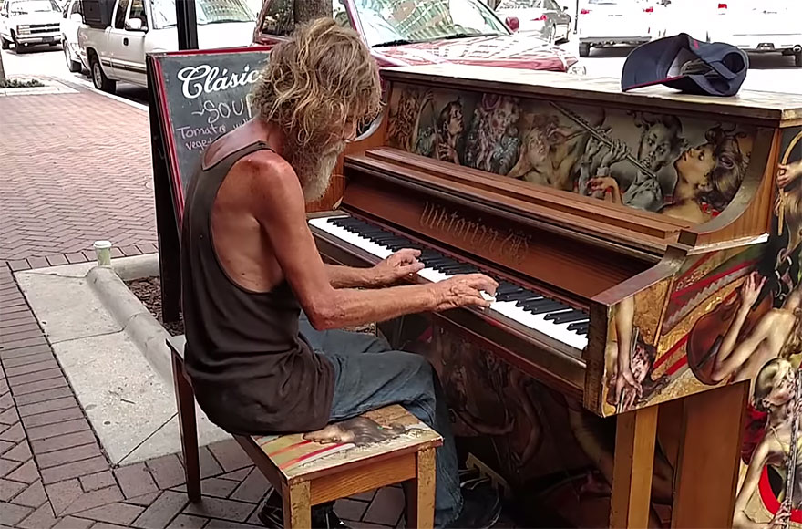 homeless-man-plays-piano-styx-come-sail-away-donald-gould-sarasota-keys