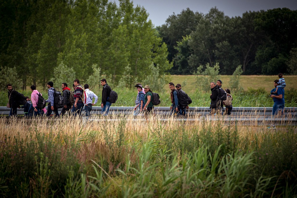 "TOPSHOTS A group of migrants walks on the road towards the border with Hungary, near the northern Serbian town of Kanjiza, on June 25, 2015. Hungary said it has indefinitely suspended the application of a key EU asylum rule in order ""protect Hungarian interests"", prompting Brussels to seek immediate clarification. Illegal immigrants cross Serbia on their way to other European countries as it has land access to three members of the 28-nation bloc -- Romania, Hungary and Croatia.  AFP PHOTO / ANDREJ ISAKOVIC"