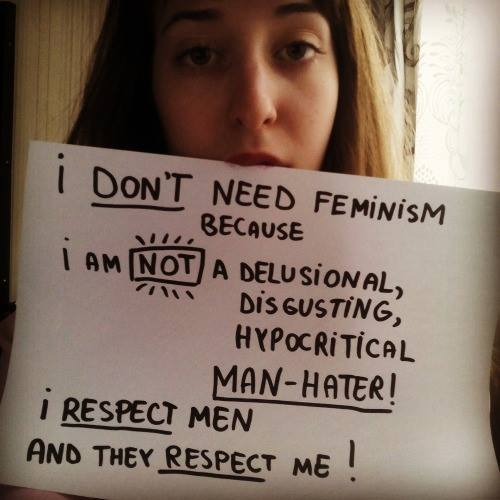 Nem kérek a feminizmusból Mert NEM vagyok egy téveszmés, undorító, képmutató férfigyűlölő! Tisztelem a férfiakat és ők is tisztelnek engem!
