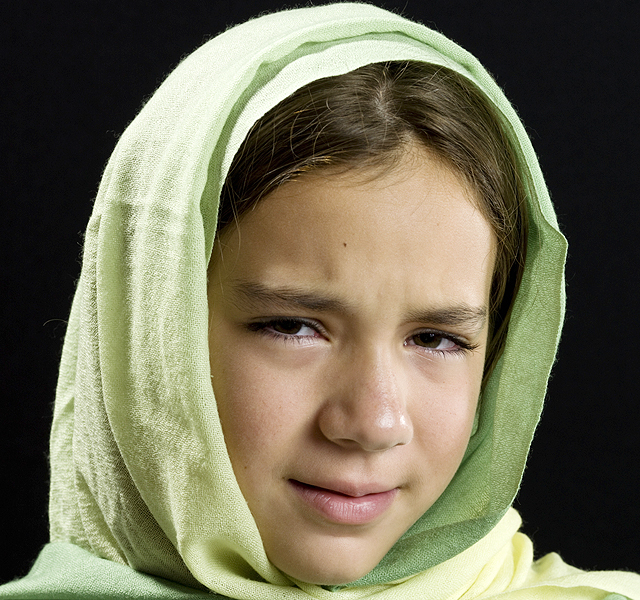 Sad Middle Eastern schoolgirl