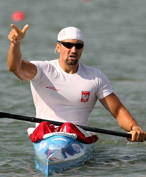 Twardowski of Poland celebrates winning the men's K1, 500 metres semi-final in Szeged