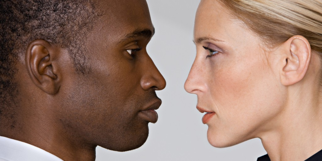 Man and woman face to face