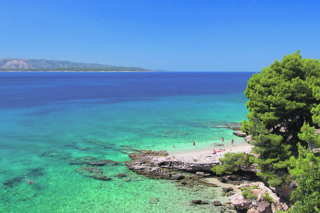 A view of an island beach in Croatia
