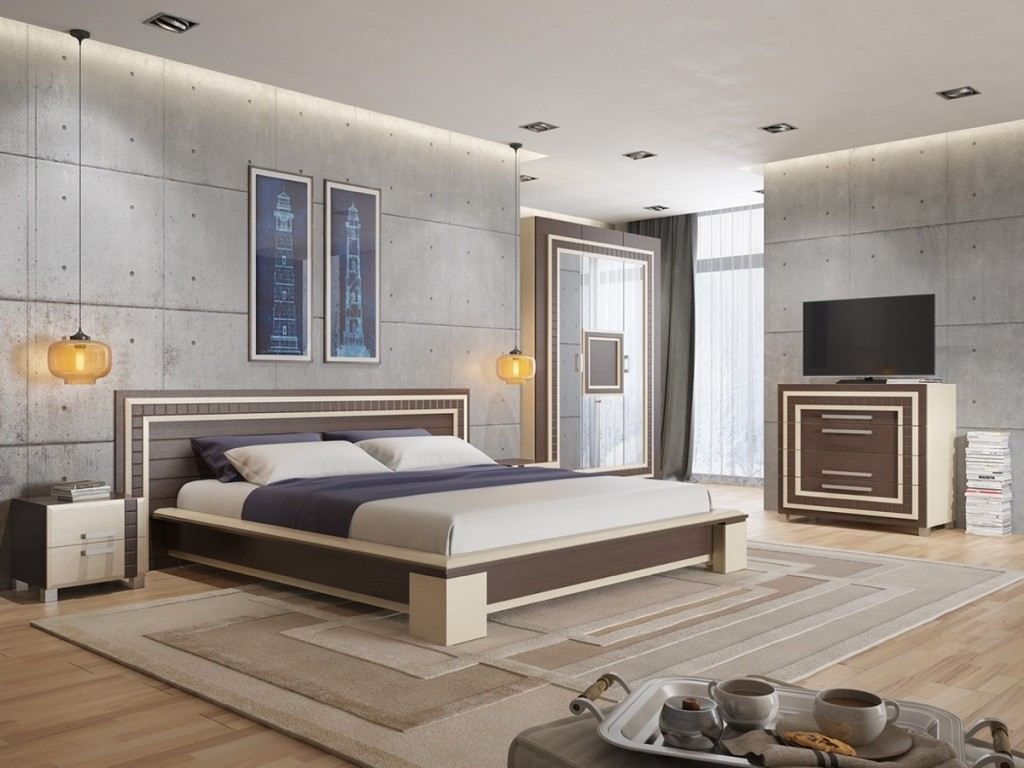 concrete-rivet-like-finish-bedroom