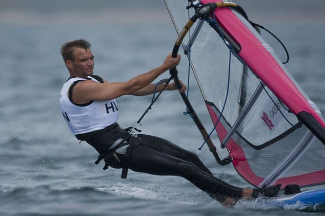 Aron Gadorfalvi (HUN) competing today, 31.07.12, in the Men's Windsurfer (RSX) event in The London 2012 Olympic Sailing Competition.