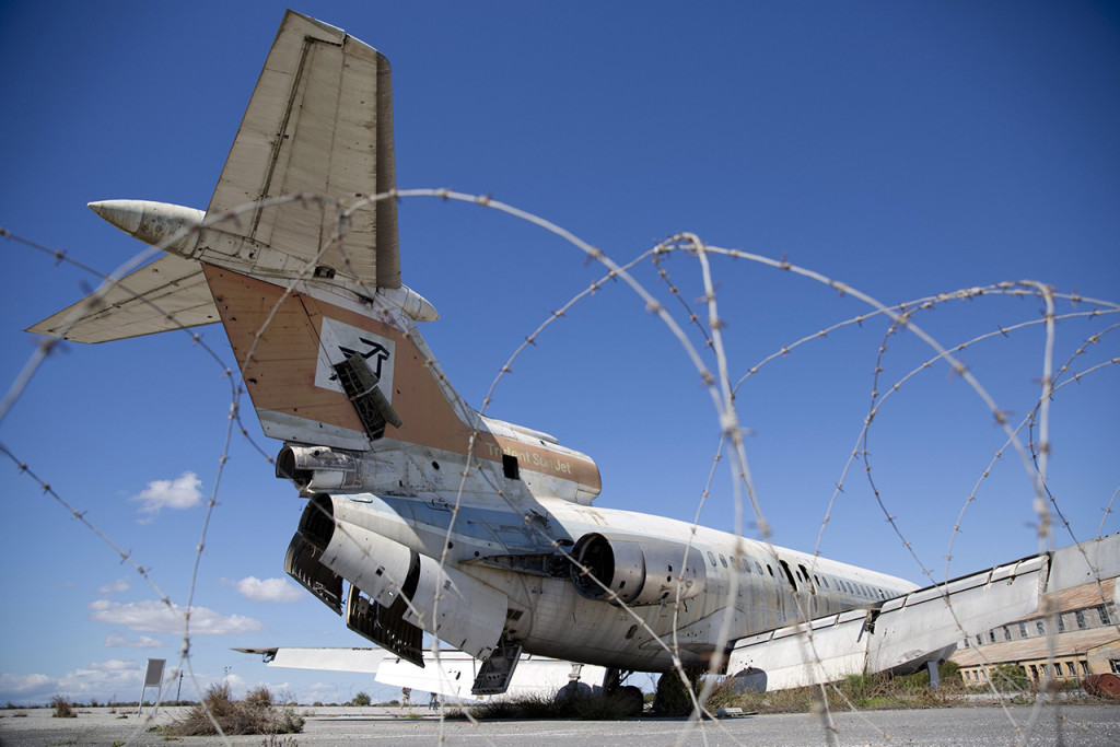 A Cyprus Airways passenger jet stands in the abandoned Nicosia International Airport near Nicosia