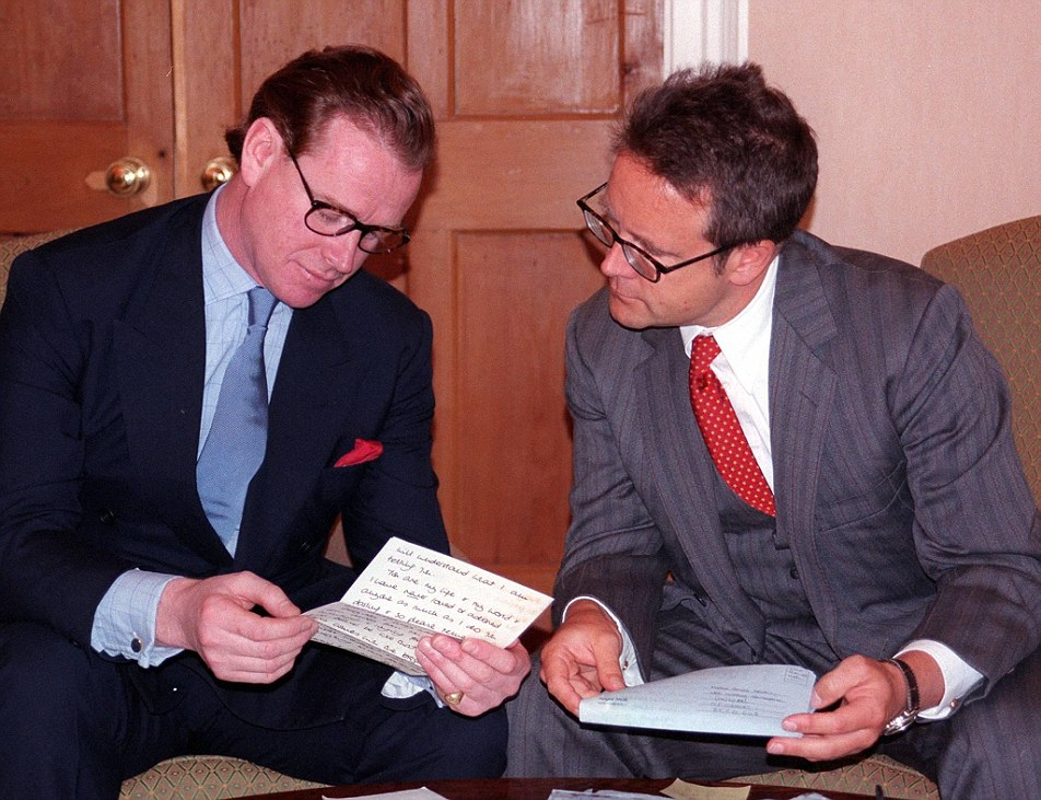 PART OF THE RETURNED LETTERS WRITTEN BY DIANA PRINCESS ROYAL (PRINCESS OF WALES) TO MAJOR JAMES HEWITT - FORMER LOVER, WHO IS READING THEM WITH HIS SOLICITOR (MICHAEL COLEMAN) IN HIS STUDY. ****** THESE PICTURES ARE NOT FOR SYNDICATION *********