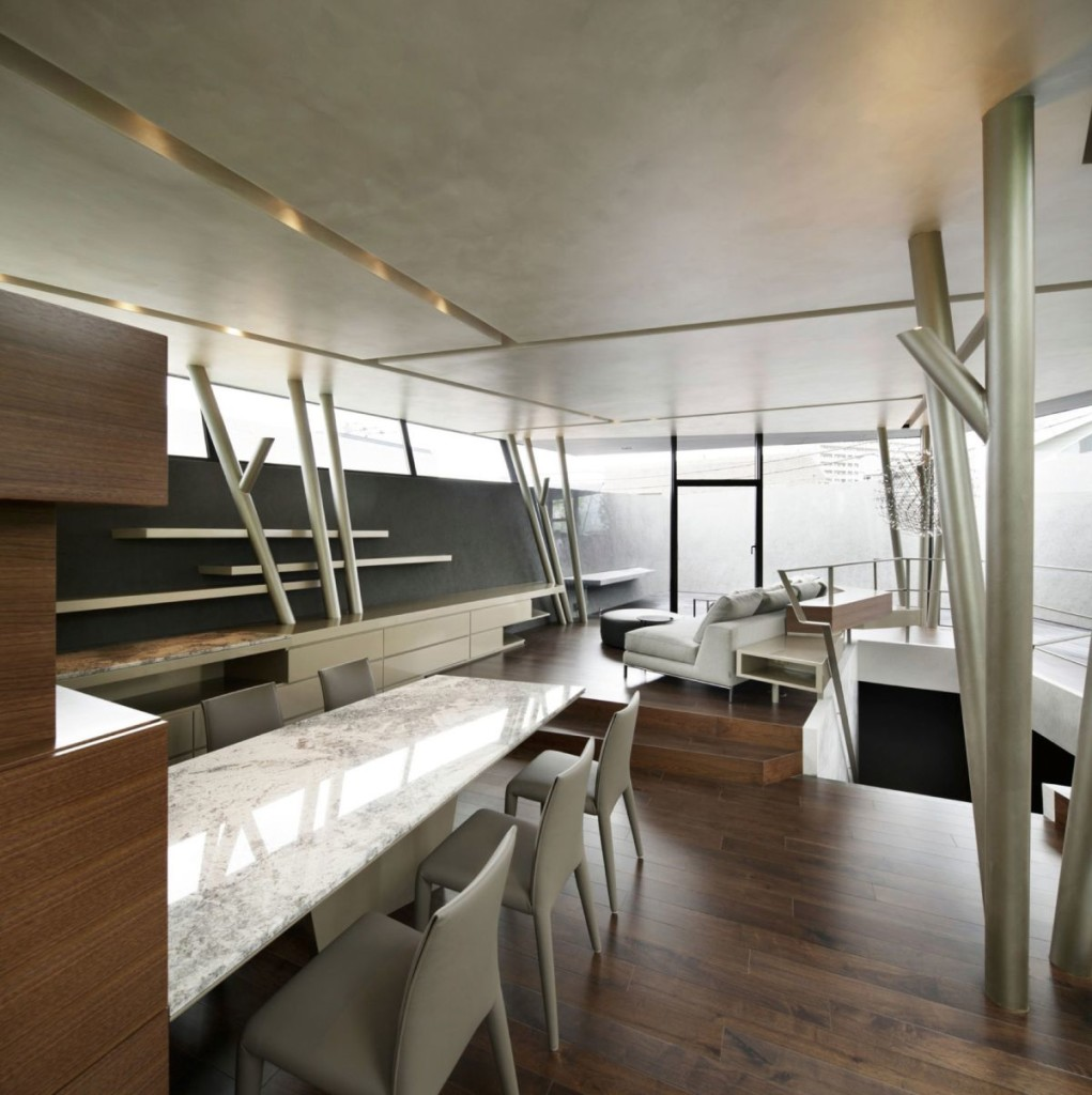 The-SRK-residence-in-Tokyo-has-an-open-plan-living-and-dining-zone