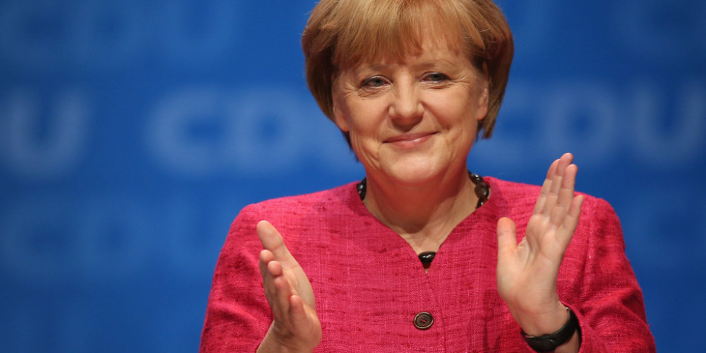 Angela Merkel Campaigns In Berlin