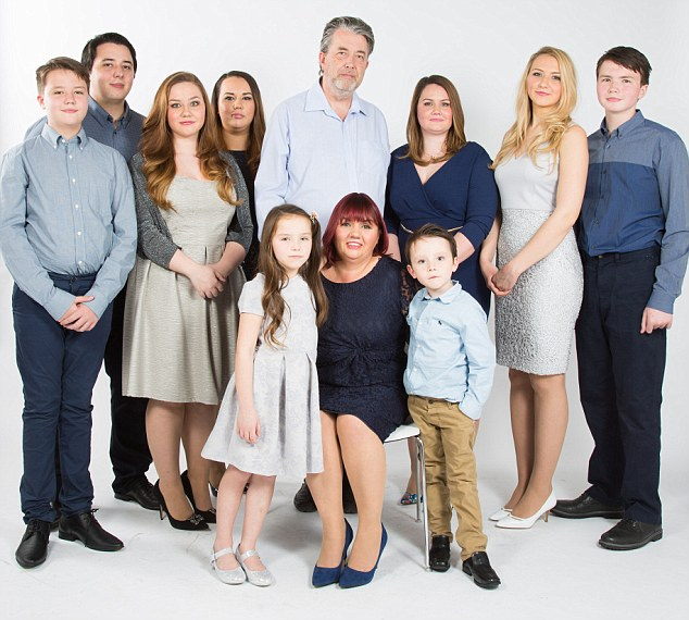 L-R, Louis 13, Oliver 21, Kitty 18, Florence 23, William (dad) 51, Livvy 27, Maitilde 19, Malachy 15.<div class='article-ad'><script async src=