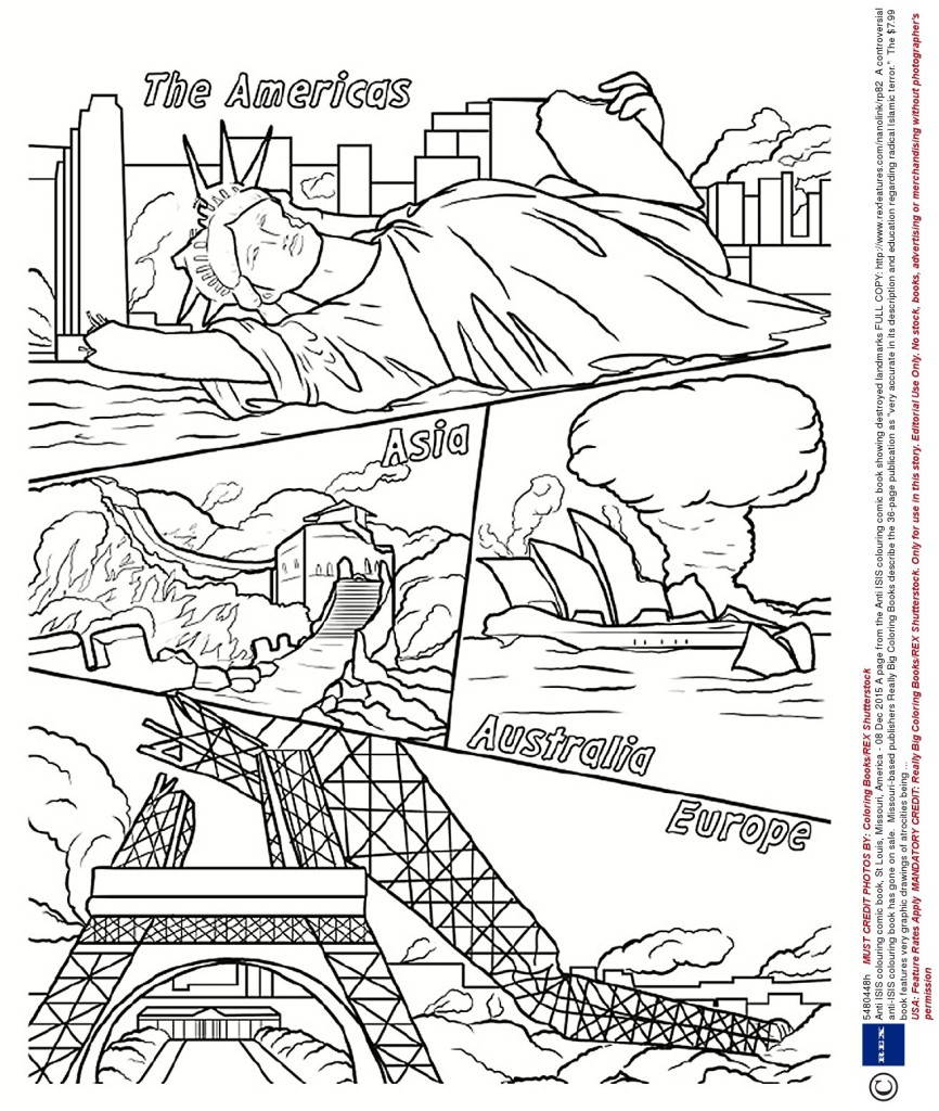 "USA: Feature Rates Apply MANDATORY CREDIT: Really Big Coloring Books/REX Shutterstock. Only for use in this story. Editorial Use Only. No stock, books, advertising or merchandising without photographer's permission Mandatory Credit: Photo by Really Big Coloring Books/REX Shutterstock (5480448h) A page from the Anti ISIS colouring comic book showing destroyed landmarks Anti ISIS colouring comic book, St Louis, Missouri, America - 08 Dec 2015 FULL COPY: http://www.rexfeatures.com/nanolink/rp82 A controversial anti-ISIS colouring book has gone on sale. Missouri-based publishers Really Big Coloring Books describe the 36-page publication as ""very accurate in its description and education regarding radical Islamic terror."" The $7.99 book features very graphic drawings of atrocities being carried out by the terror organisation, including beheadings, acid attacks and facial mutilation. Themes covered - and ready to be coloured in - include the indocrination of children into ISIS and attacks on Western nations, with images of destroyed landmarks such as the Eiffel Tower and the Statue of Liberty. Wayne Bell, of Really Big Coloring Books, says the book is not for children, but for young adults and adults and is ""completley indifferent to political correctness""."