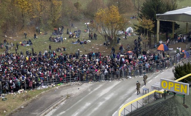 Migrants at Slovenian-Austrian border
