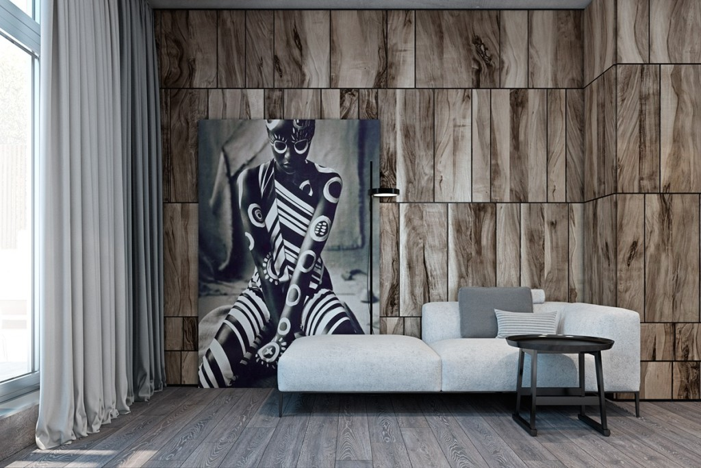 wood-panel-walls-with-modern-art