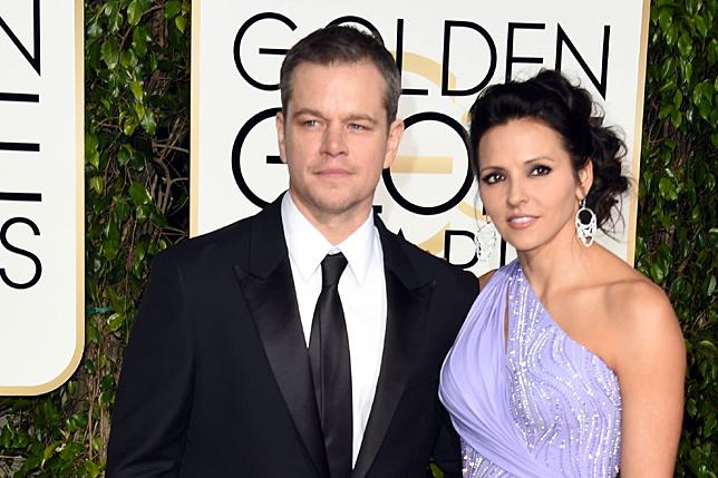 Matt Damon a feleségével a 2016-os Golden Globe-díjkiosztón