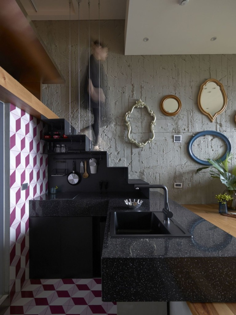 The-Toy-House-apartment-in-New-Taipei-small-kitchen-inside-the-stairs