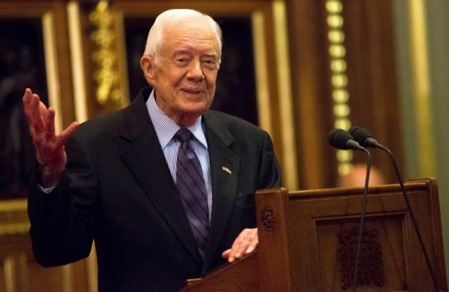 Former U.S. President Jimmy Carter delivers a lecture on the eradication of the Guinea worm, at the House of Lords in London, Britain February 3, 2016. REUTERS/Neil Hall
