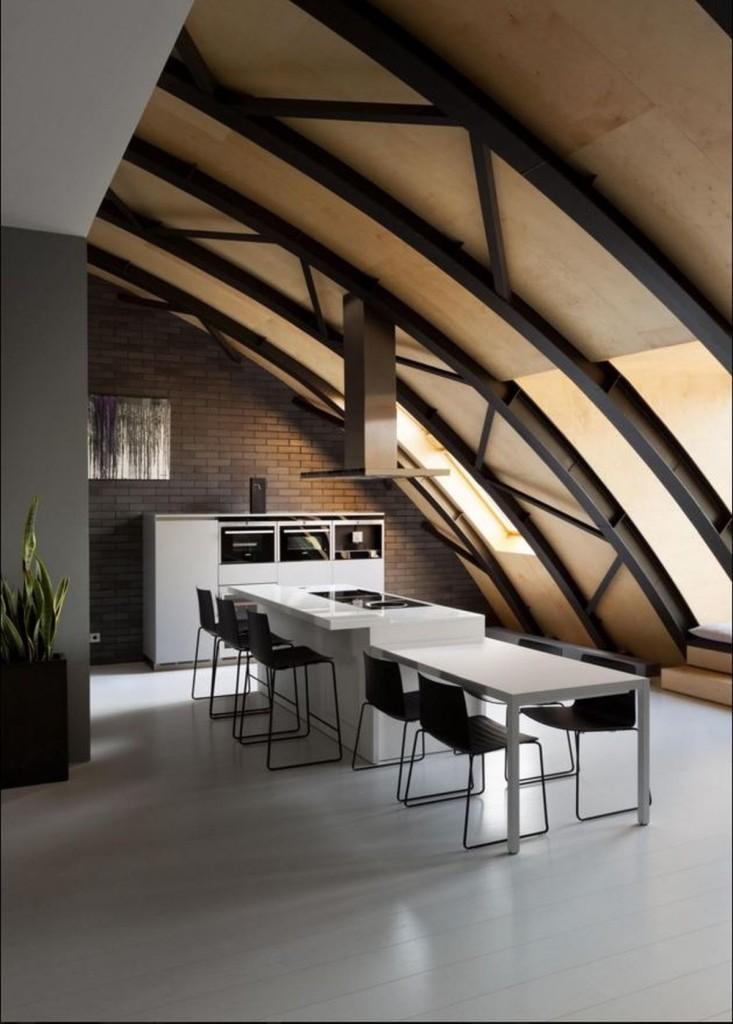 Kiev-loft-renovation-kitchen-island-with-table