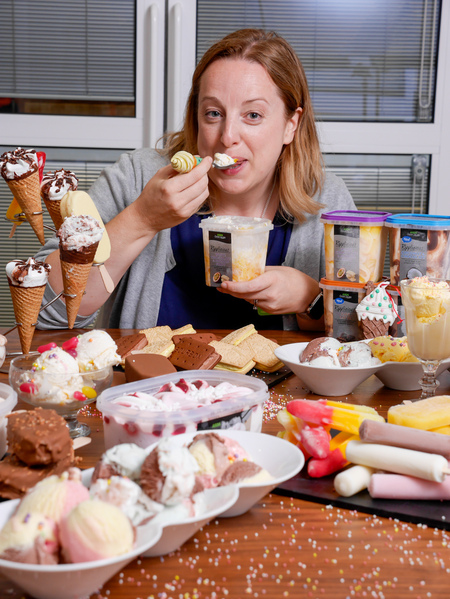 PIC BY CATERS NEWS: - Asda Ice Cream tester Louise Bamber - SEE CATERS COPY