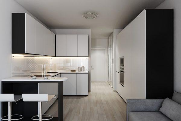 small-black-and-white-kitchen-600x400
