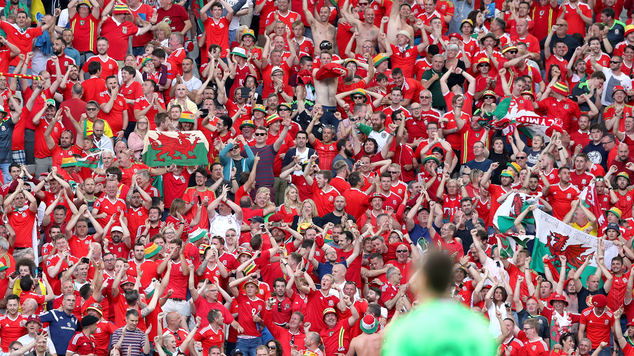 Wales fans celebrate victory in Bordeaux