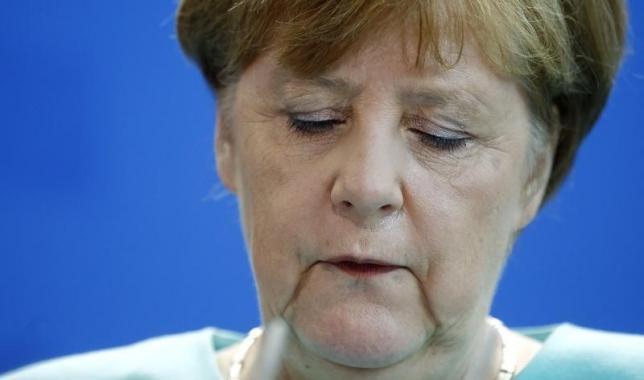 German Chancellor Merkel gives a statement in Berlin