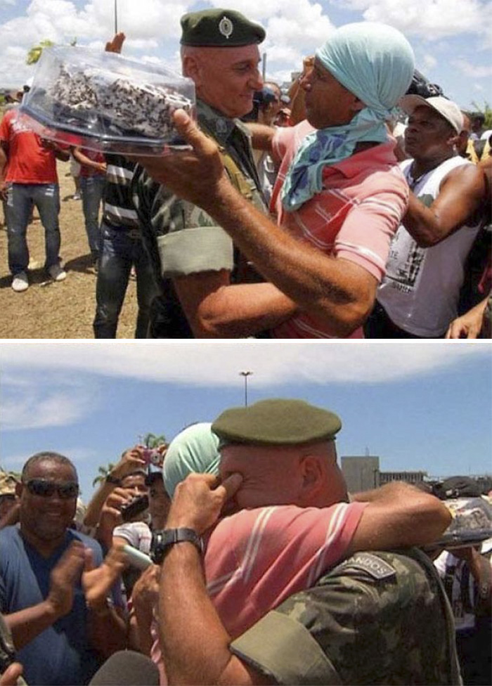 Egy Brazíliában történt tiltakozás közben egyik rendőr bejelentette, hogy ne csinálják ezt a születésnapján, mire ez történt.