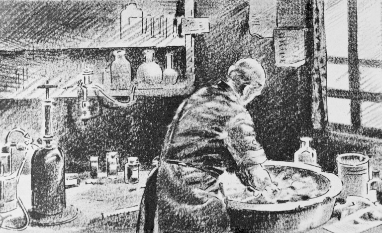 Illustration of Ignaz Semmelweis Washing Hands before Operating