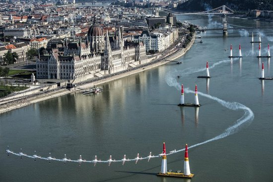 Paul Bonhomme of Great Britain performs during qualifying day of the fourth stage of the Red Bull Air Race World Championship in Budapest, Hungary on July 4, 2015. EDITORIAL NOTE: MUPLIPLE IMAGES WERE USED TO COMPOSE THIS PICTURE! // Predrag Vuckovic/Red Bull Content Pool // P-20150705-00153 // Usage for editorial use only // Please go to www.redbullcontentpool.com for further information. //