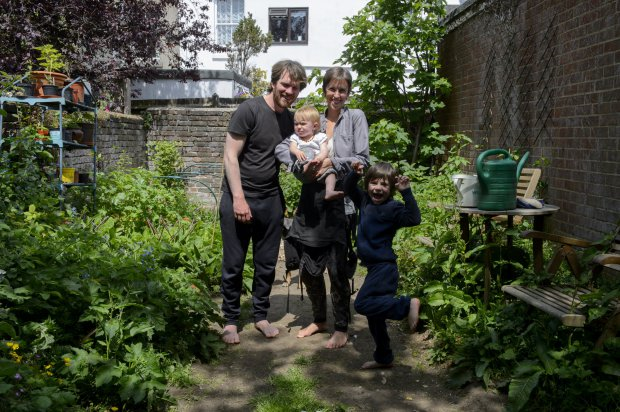 **PLEASE NOTE THERE IS AN EMBARGO UNTIL MONDAY 18 JULY 00:01AM** *** EXCLUSIVE - VIDEO AVAILABLE *** BRIGHTON, SUSSEX - JUNE 10: Adele and Matt Allen with their five-year-old son Ulysses and one-year-old daughter Ostara in their back garden where they teach their children about nature, plants and have their own campfire, in Brighton, Sussex on 10 June 2016. Parents Adele and Matt Allen believe in an all-natural approach to bringing up their children - so much so they refuse modern medicine, traditional schooling and encourage full-term breastfeeding. Adele, 32, and Matt, 33, from Brighton, call their parenting style ëOff-Grid Parentingí and their children Ulysses, five and Ostara, one, are therefore both still breastfed, have never visited a doctor and will not attend a mainstream school. When Adele, a writer, fell pregnant with her son, the coupleís controversial methods felt completely natural to them. She said: ìOff-grid is moving towards self sustainability and being a bit more free range and less institutionalised.î Matt said: ìWe did collect a lot of information but essentially it was just this feeling.î Adele gave birth to both her children, completely unassisted and with no medical intervention with only her husband Matt by her side. PHOTOGRAPH BY Jon Short / Barcroft Images London-T:+44 207 033 1031 E:hello@barcroftmedia.com - New York-T:+1 212 796 2458 E:hello@barcroftusa.com - New Delhi-T:+91 11 4053 2429 E:hello@barcroftindia.com www.barcroftmedia.com
