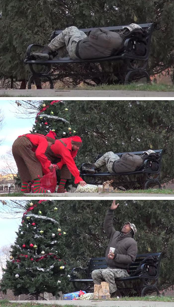 A karácsonyi manók meglepték a hajléktalant ajándékokkal.