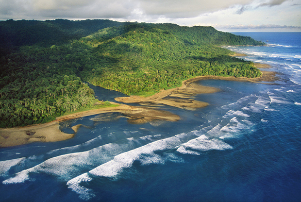 Rain forest coastline, aerial view, Osa Peninsula, Corcovado National Park, Costa Rica