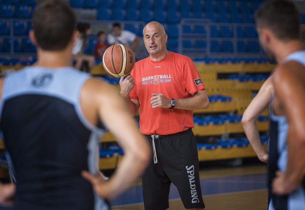 A magyar férfi kosárlabda-válogatott edzése